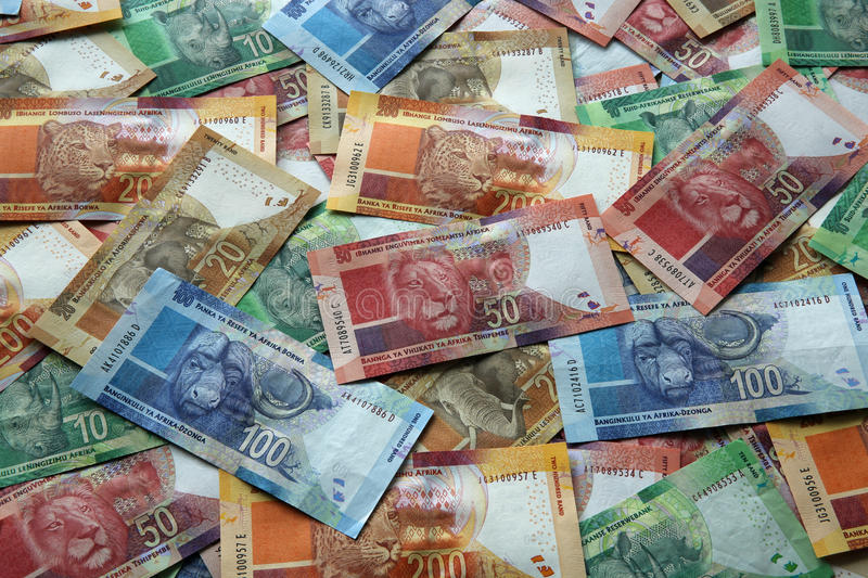 South African Rand. Different south african rand banknotes stock photo