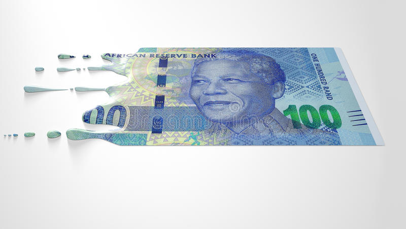 South African Rand Melting Dripping Banknote. A concept image showing a regular South African Rand banknote that is half melted and liquified dripping on an stock photo