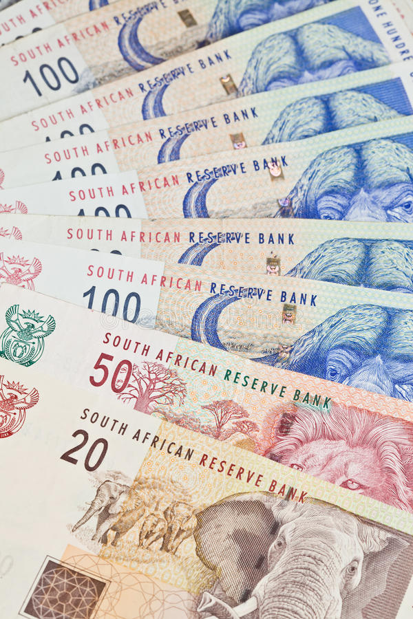South African Rands. The South African currency the Rand in denominations of 20,50 and 100 Rand notes royalty free stock photos