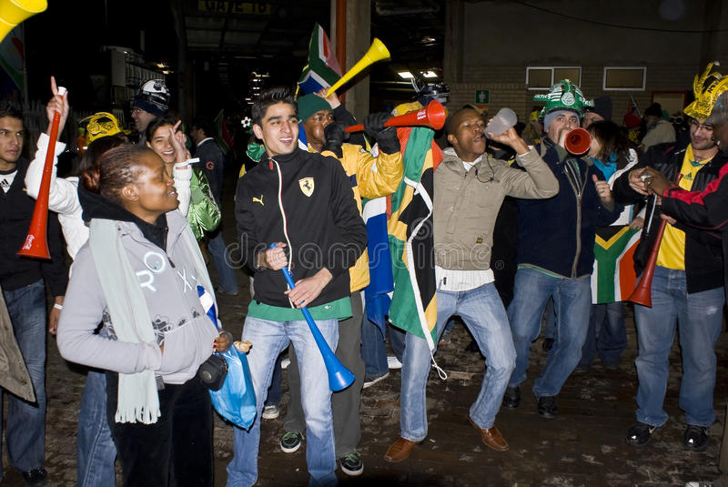South African Soccer Fans Celebrating stock photo
