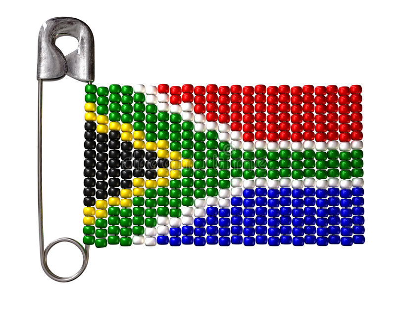 South African Zulu Bead Flag. A safety pin with a traditional zulu beaded brooch depicting the south african flag on an isolated background royalty free illustration