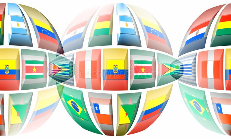 South America. National colors of South American countries, a subcontinent of the Americas stock illustration