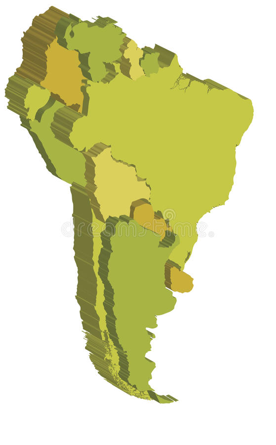 Download South america 3d map stock illustration. Illustration of country - 13852175
