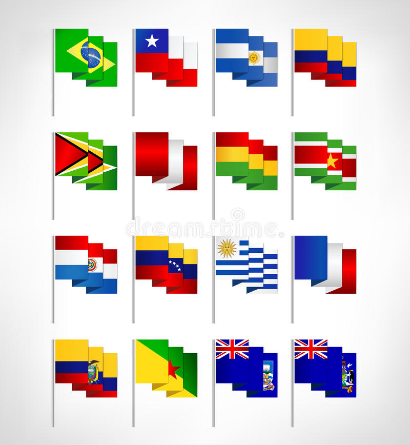 South America all continent countries flags set. Flat design vector illustration