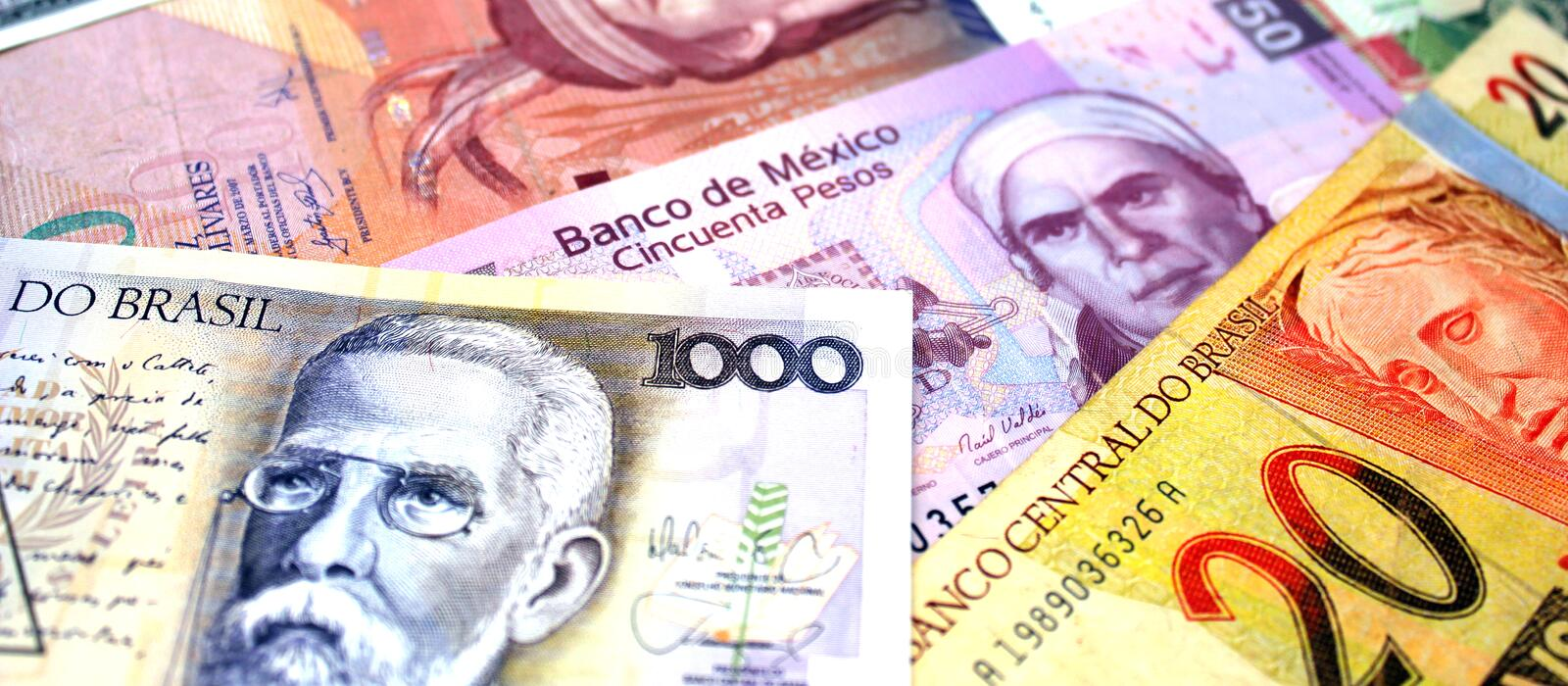 South America Banknotes royalty free stock photography