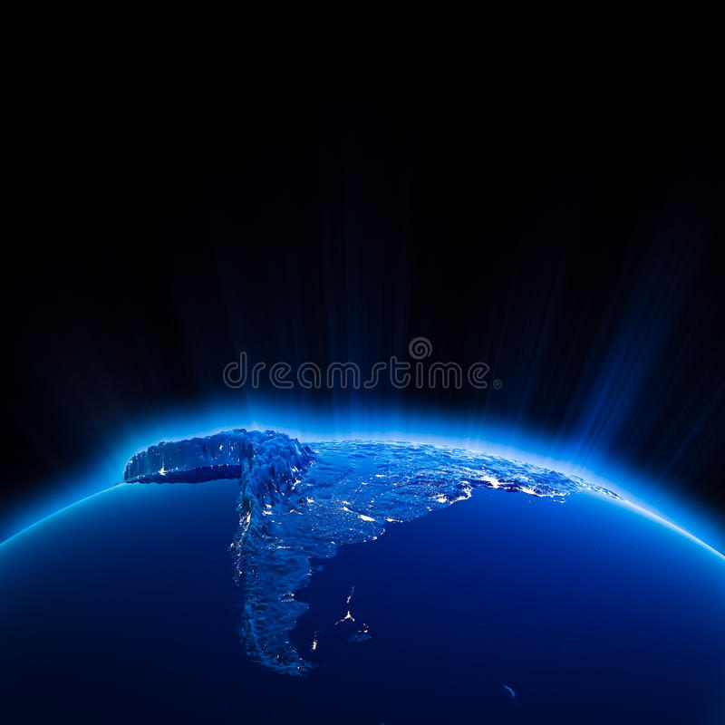 South America city lights at night. Elements of this image furnished by NASA stock illustration