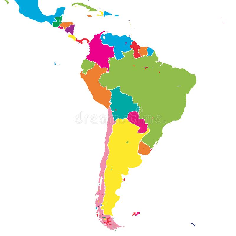 South America colorful vector map royalty free illustration