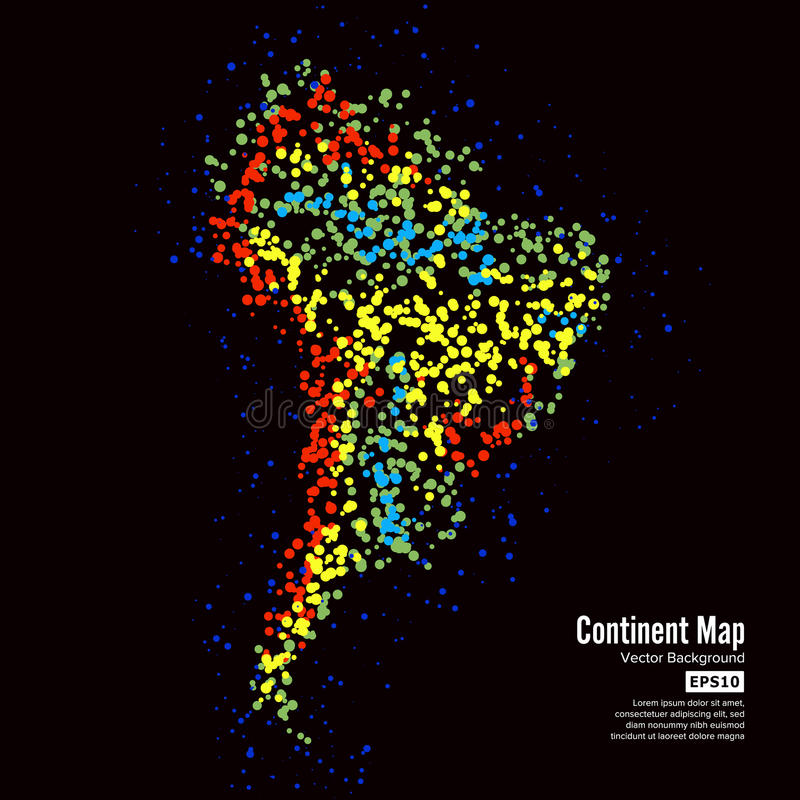 South America. Continent Map Abstract Background Vector. Formed From Colorful Dots Isolated On Black. royalty free illustration