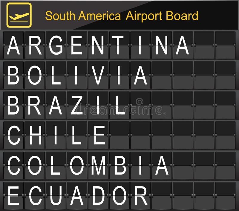 South America Country Airport Board Information. stock illustration