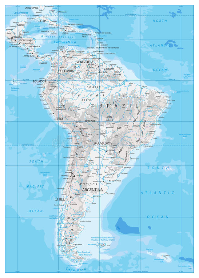 South America Detailed Physical Map Stock Vector Illustration of