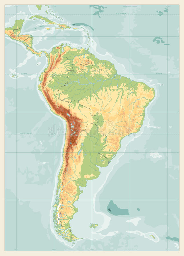 South america detailed physical map with global relief lakes an download south america detailed physical map with global relief lakes an stock vector illustration gumiabroncs Images