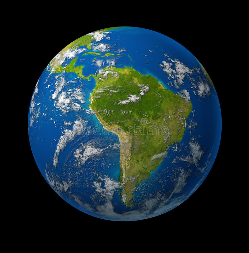 South America earth globe planet on black stock illustration
