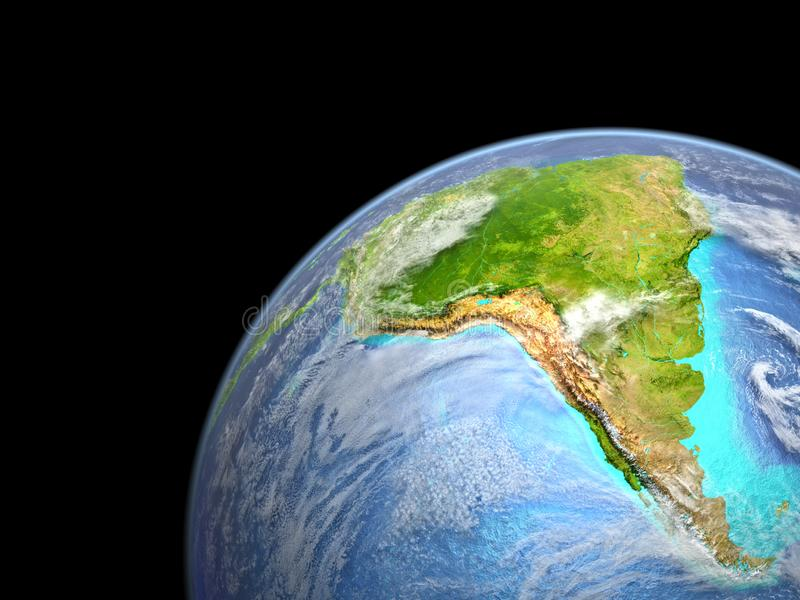 South America on Earth from space. Very fine detail of planet surface, realistic clouds and visible ocean floor. 3D illustration. Elements of this image vector illustration