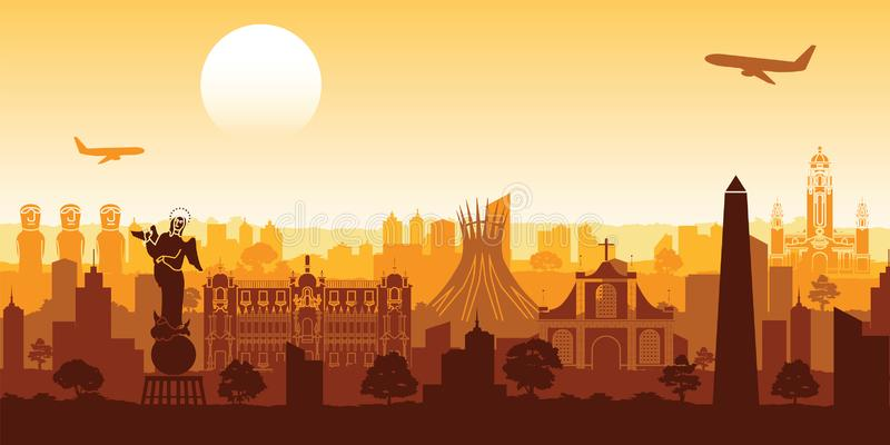 South america famous landmark silhouette style with row design o vector illustration
