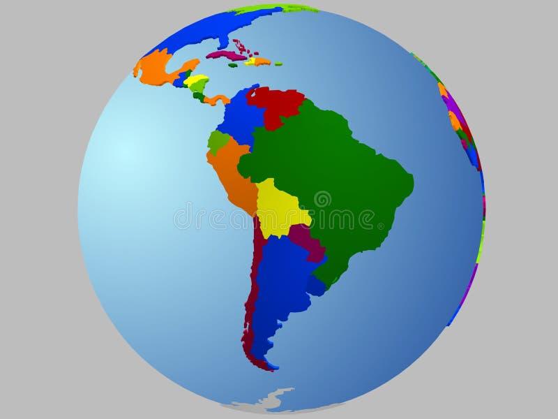 South America globe map vector illustration