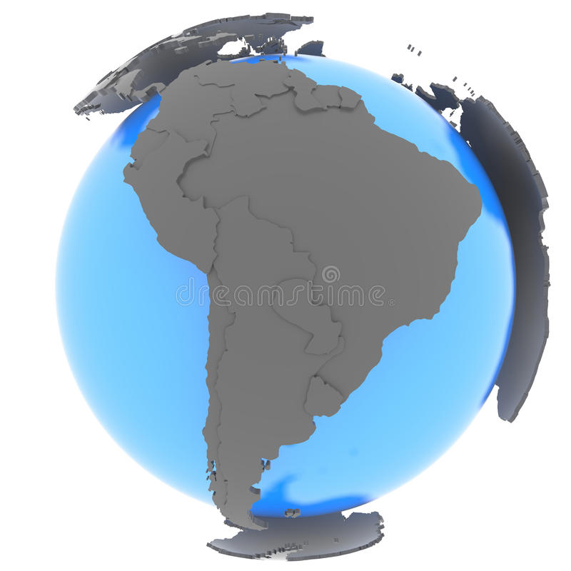 South America on the globe vector illustration