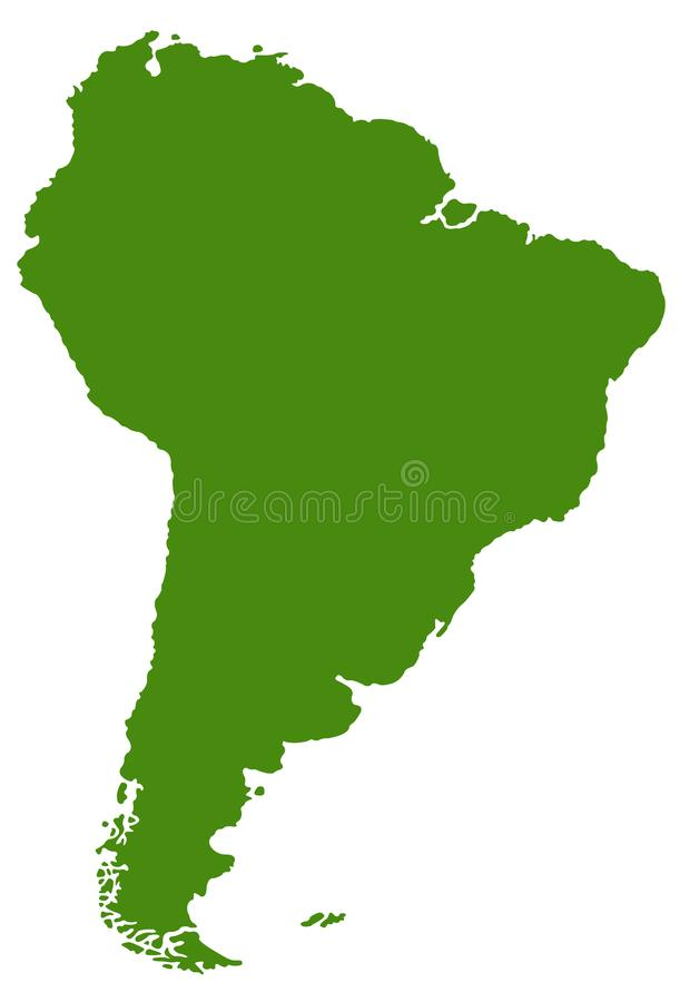 South America or Latin America map - continent in the world stock illustration