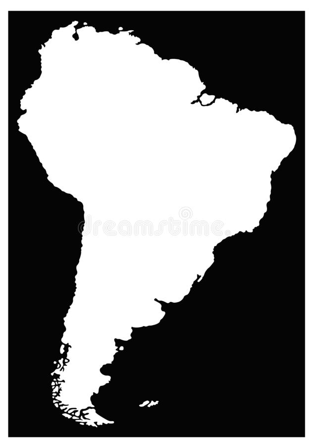 South America or Latin America map - continent in the world vector illustration