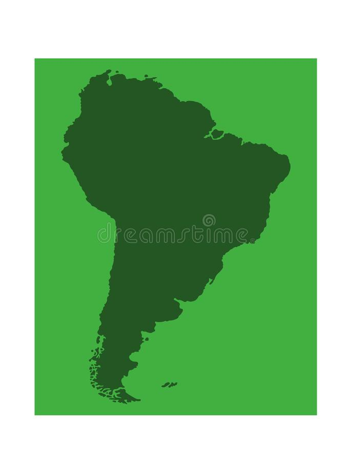 South America or Latin America map - continent in the world royalty free illustration