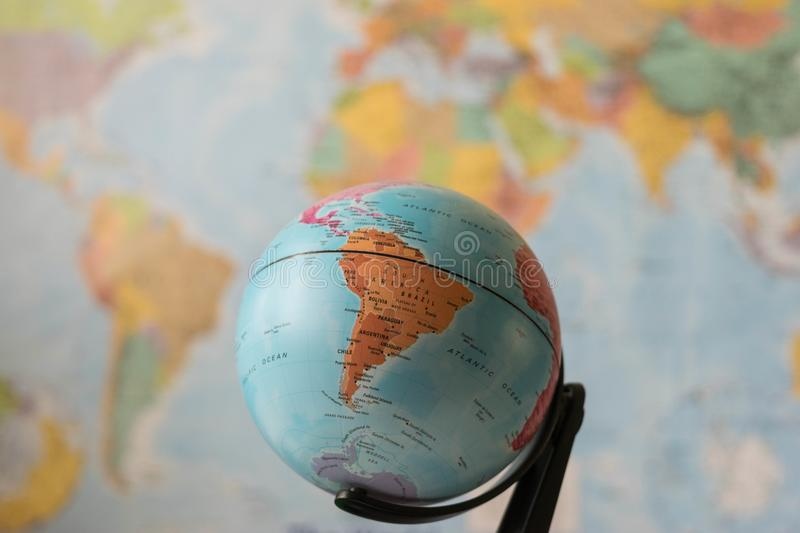 South America map on a globe. With the whole world as background royalty free stock images