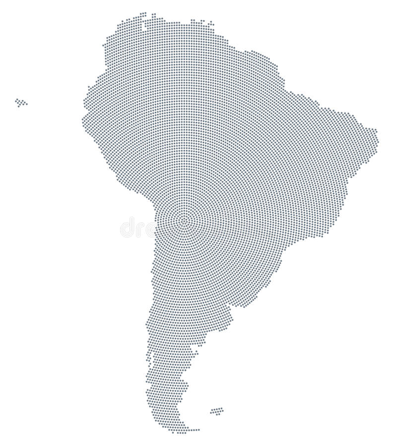 South America map gray radial dot pattern vector illustration