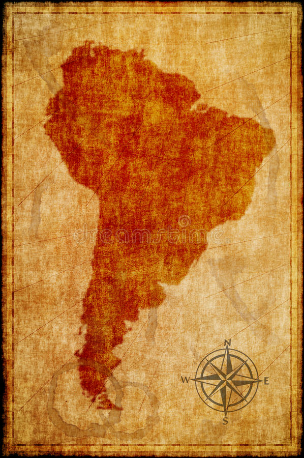 South america map on parchment.  royalty free stock photo