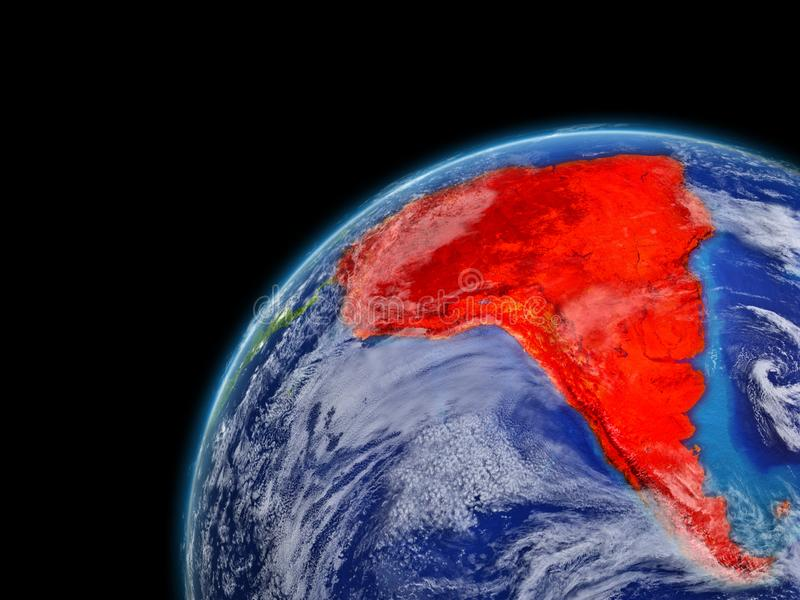 South America on model of planet Earth with very detailed planet surface and clouds. Continent highlighted in red. 3D illustration. Elements of this image vector illustration