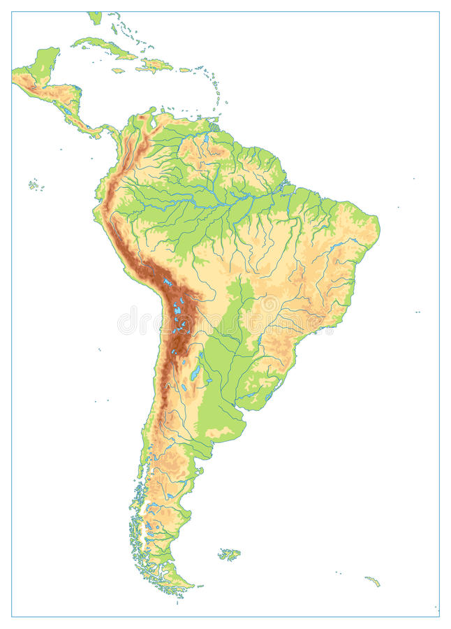 South America Physical Blank Map Isolated On White Stock Vector