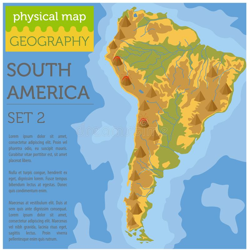 Download South America Physical Map Elements. Build Your Own Geography In  Stock Vector   Illustration