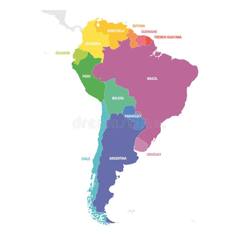 South America Region. Colorful map of countries in southern America. Vector illustration royalty free illustration
