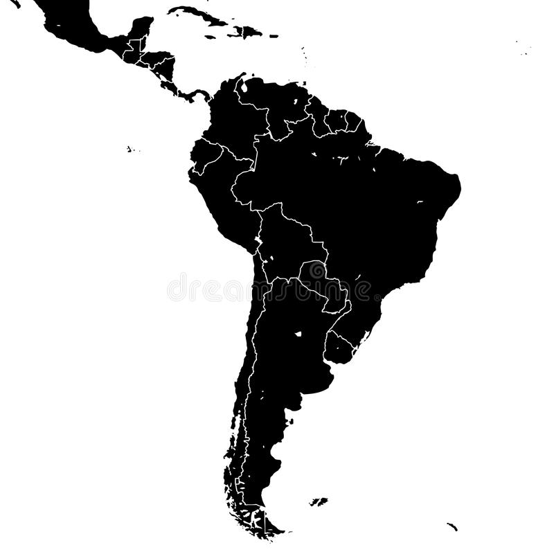 South America silhouette vector map stock illustration