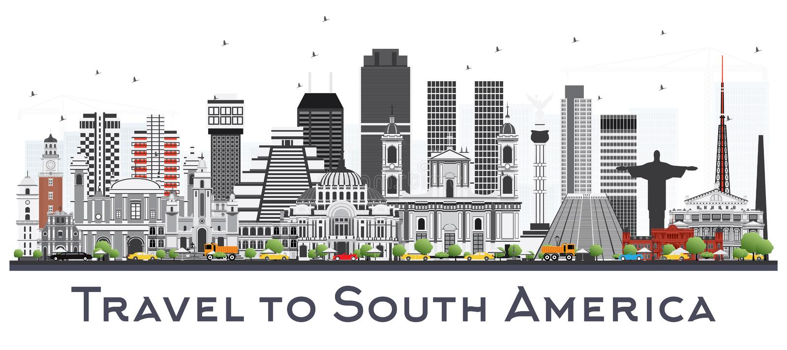 South America Skyline with Famous Landmarks Isolated on White Ba. Ckground. Vector Illustration. Business Travel and Tourism Concept royalty free illustration