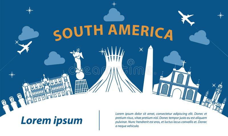 South america top famous landmark silhouette style on white curve,trip and tourism royalty free illustration