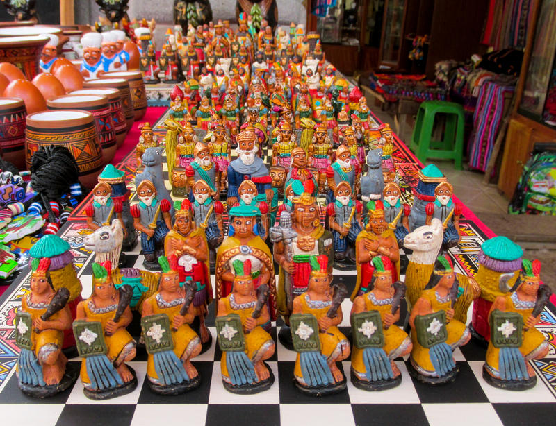 South America traditional crafts and gift shop, Peru. South America souvenir traditional crafts gift shop, Peru. Native americans traditional carfts indian chess stock photos