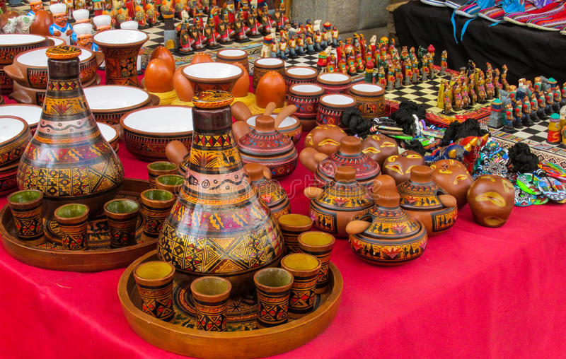 South America traditional crafts and gift shop, Peru. South America souvenir traditional crafts gift shop, Peru. Native americans traditional carfts indian chess royalty free stock photos