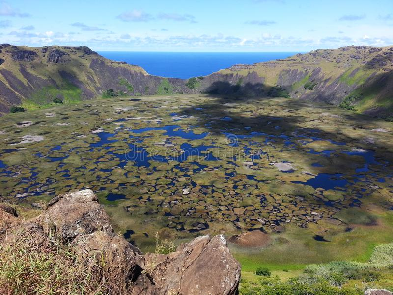 Rano Kau. South America travel, Easter Island, Rapa Nui. Amazing colors in Rano Kau crater. spectacular nature royalty free stock image