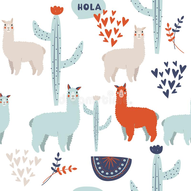 Cute lama vector background. South American ethnic pattern with cactus, abstract compositions and hearts. stock illustration