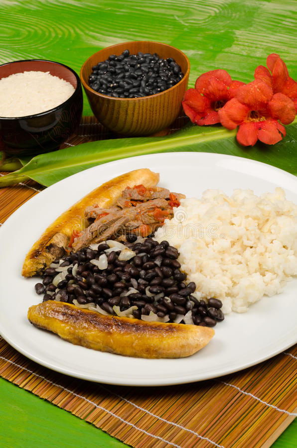 South American food. Pabellon criollo, a traditional South American dish royalty free stock photography