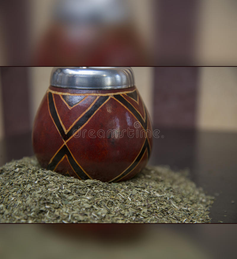 South American green tea. `Mate`. And special dishes `Calabash` for its use royalty free stock photos