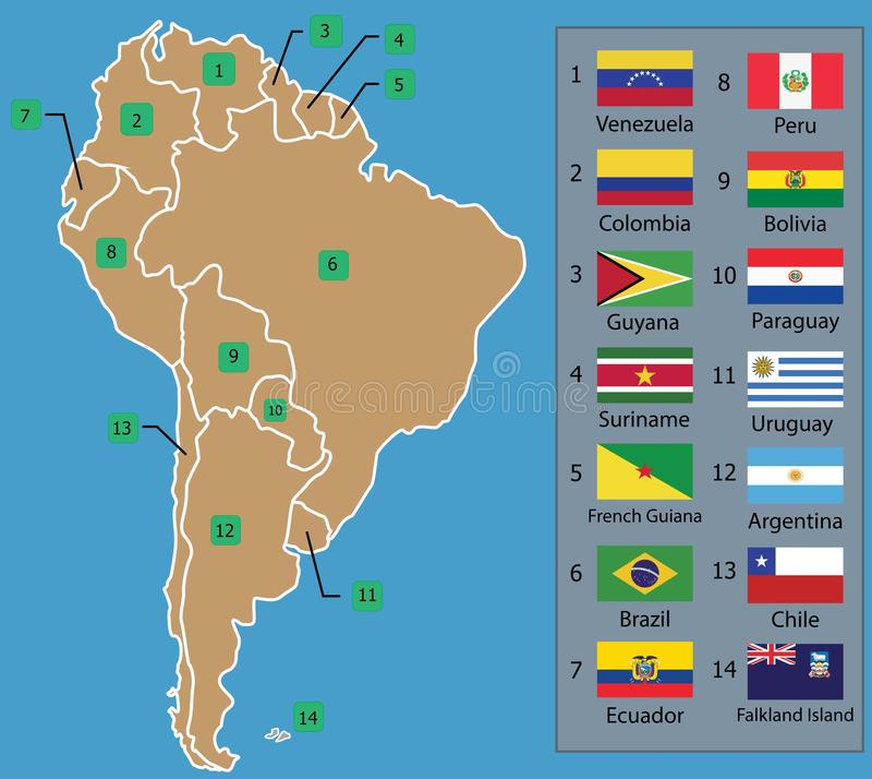 South American Map and South American countries flags with names royalty free illustration