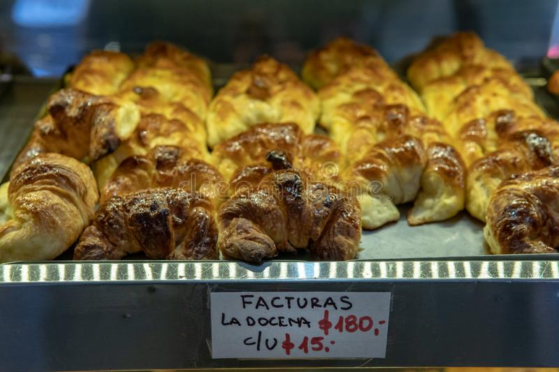 South American Media Lunas. Freshly made pastries being sold in a bakery in Buenos Aires, Argentina, food, apart, argentine, backgrounds, baked, basket, bread royalty free stock photography