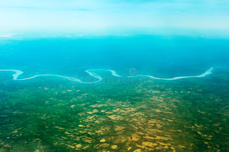 South American river from the plane. South American river, view from the plane royalty free stock photo