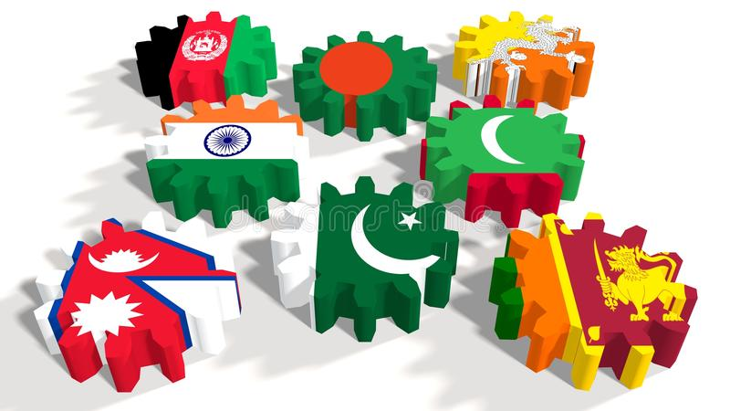 South Asian Association for Regional Cooperation members flags on gears. South Asian Association for Regional Cooperation association of eight national economies royalty free illustration