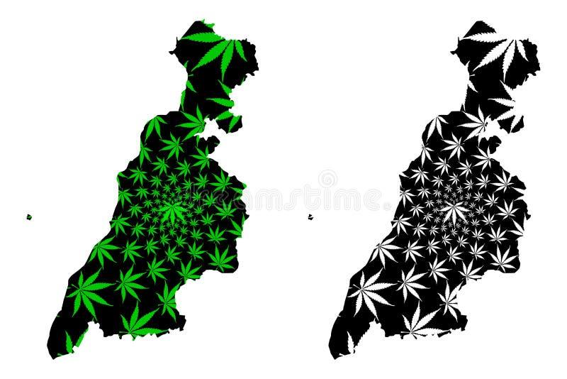 South Ayrshire Regno Unito, Scozia, amministrazione locale in Scozia Map sono disegnate foglie di cannabis verdi e nere, sud illustrazione vettoriale