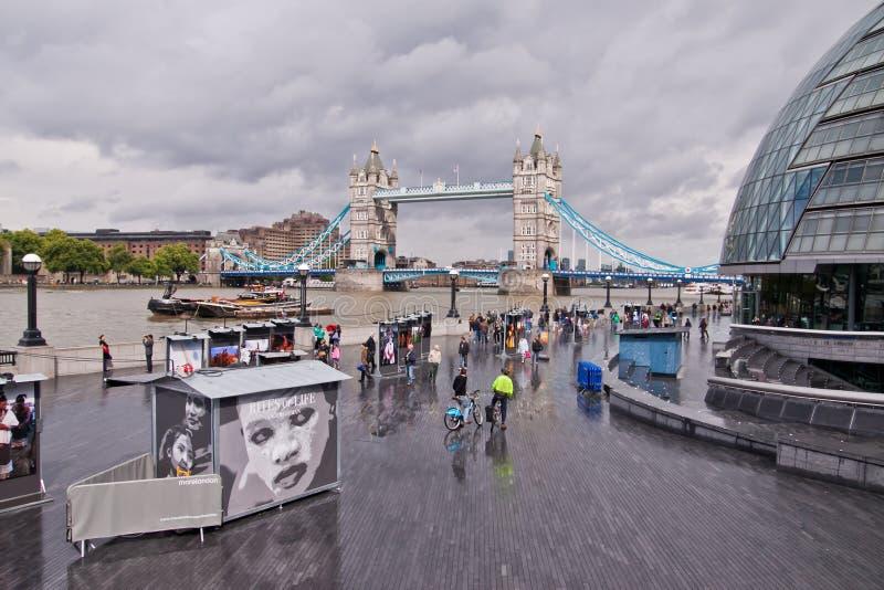 South bank, London. View of South Bank, London city hall and Tower Bridge, London, England, UK royalty free stock photo