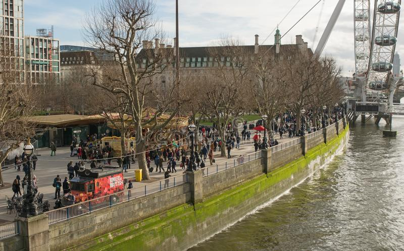 The South Bank of River Thames at Westminster, London, England royalty free stock images