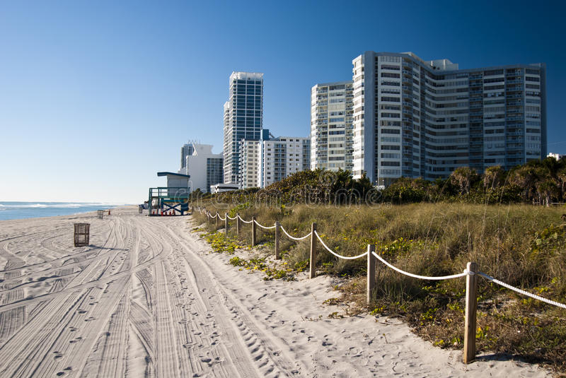 South Beach. View of the hotels from the beach in a sunny day at sunrise - Miami (USA 2010 stock photo