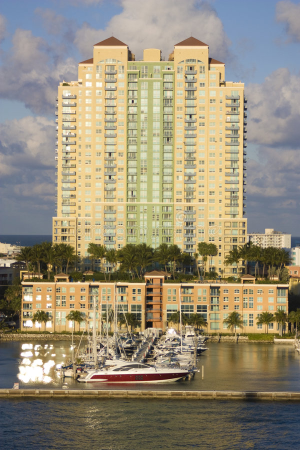 South Beach appartment building with harbor royalty free stock photo