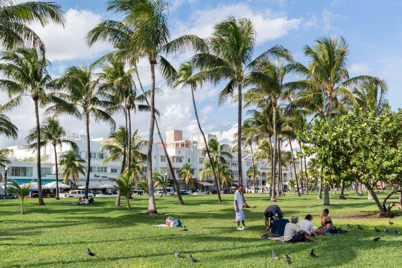 South Beach Boardwalk, Miami Beach, Florida. People on South Beach Boardwalk in Miami Beach, Florida, USA royalty free stock photos