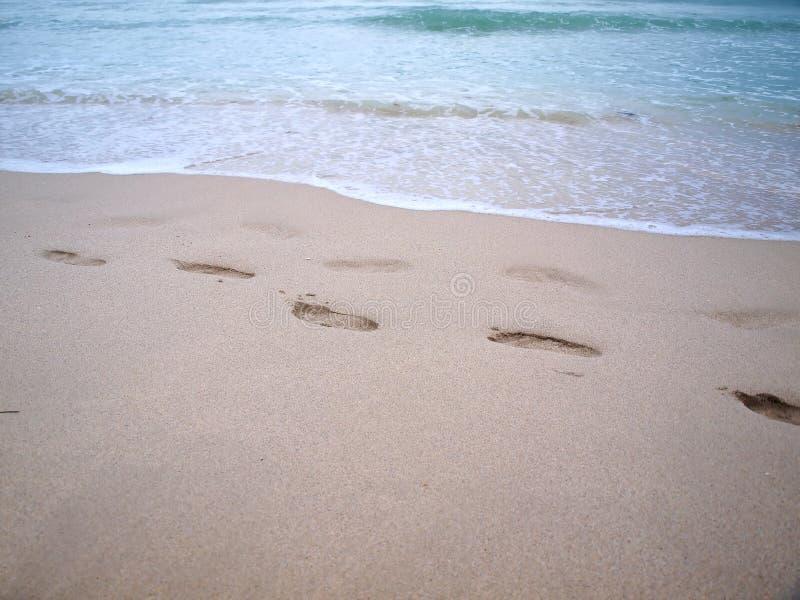 South beach footprints in sand stock photos